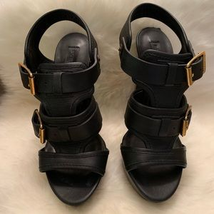 Burberry Buckle Strapped Leather Heels